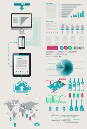 synchronization: Element Infographics Cloud Technologies. icon display tablet and Cell Phone. bits and pieces of infographics on sales from the world map Illustration