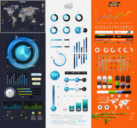 visualize: elements of infographics with a map of America Illustration