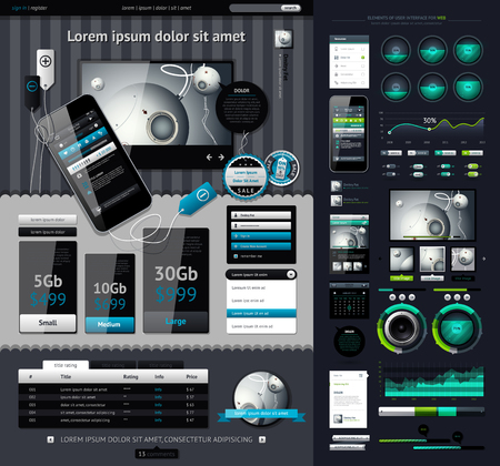 business direction: Elements of Infographics with buttons and menus