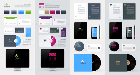 presentation screen: Stationery, Branding Mock-Up template. illustration.