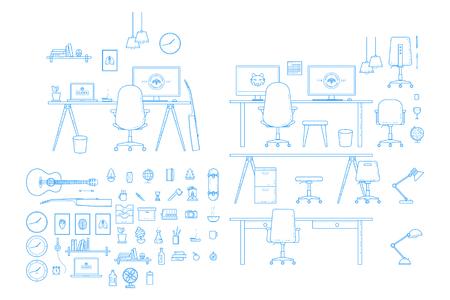 Vector Interior Workspace Creator Illustration