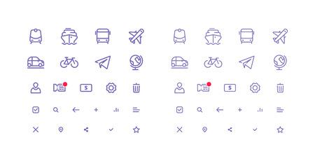 Set van dunne lijn iconen voor transport.