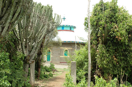 coptic orthodox: An Ethiopian Orthodox Church building and its green surrounding