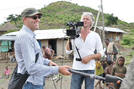 Camera crew in the rural Ethiopia Editorial