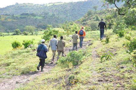 rehabilitated people: Men walking in the rehabilitated Ethiopian highlands Editorial