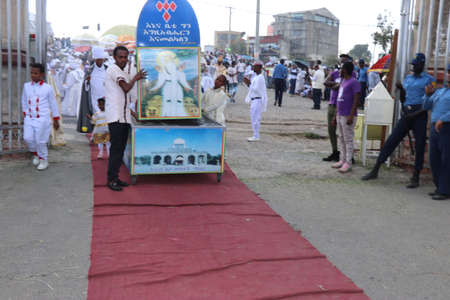 January 19, 2019: group of unidentified people dressed in traditional attire during the Timkat holiday, the important Ethiopian Orthodox celebration of Epiphany