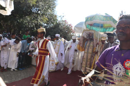 Priests carry the Tabot, a model of the Arc of Covenant, during a colorful procession of Timket celebrations of Epiphany, commemorating the baptism of Jesus, on January 19, 2019 in Addis Ababa. Editorial