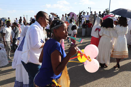January 19, 2019: a group of unidentified people dressed in traditional attire during the Timkat holiday, the important Ethiopian Orthodox celebration of Epiphany Editorial