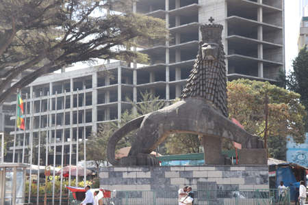 The iconic statue of the Lion of Judah in Addis Ababa, Ethiopia.