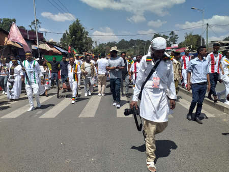 Ethiopian men and women celebrating the 123rd anniversary of Ethiopia`s victory of Adwa over the invading Italian force.