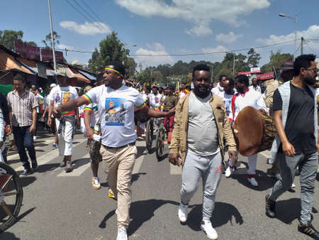 Ethiopian men and women celebrating the 123rd anniversary of Ethiopia`s victory of Adwa over the invading Italian force. Banco de Imagens - 120679780