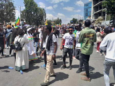 Ethiopians celebrating the 123rd anniversary of Ethiopia`s victory of Adwa over the invading Italian force. . Editorial