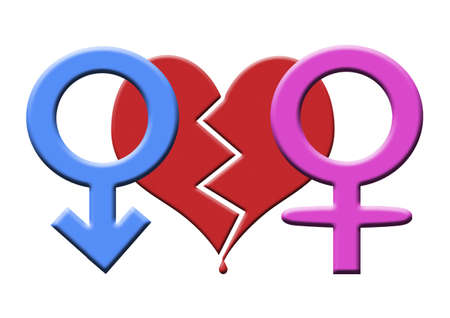 Symbol of male (Mars) and female (Venus) on the background of a broken heart. Stock Photo - 11771551