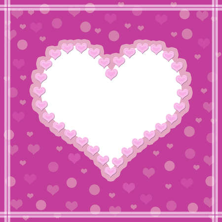 Pink background with a heart. White photo