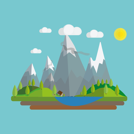 sky and grass: Flat summer landscape illustration with mountains