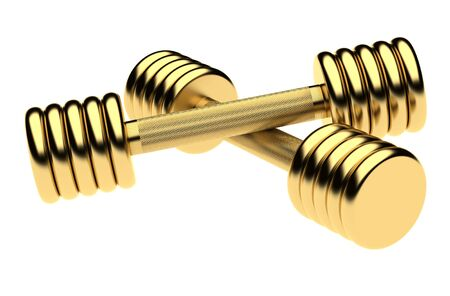machined: Golden fitness dumbbells. Isolated on the white  background