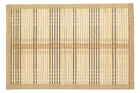 mat: Bamboo mat -  can be used as background.  Isolated on white