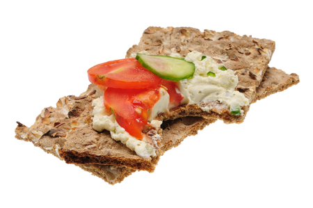 caloric: Bitten low caloric open sandwich. Isolated on the white background