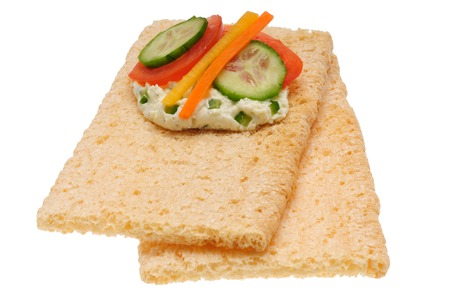 caloric: Low caloric open sandwich. Isolated on white background