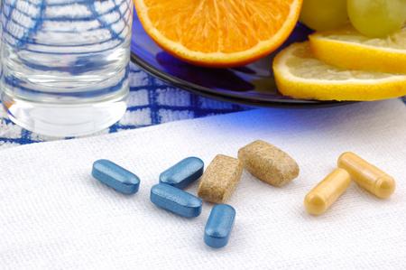 fruits in water: Breakfast. Fruits, water, pills