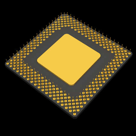 digitally generated image: Computer microprocessor. Digitally generated image. Isolated on black Stock Photo