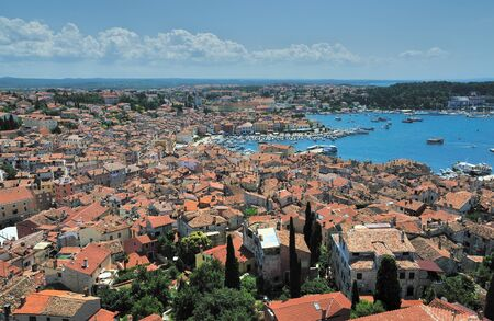 topdown: View of the old town. Croatia. Rovin Stock Photo