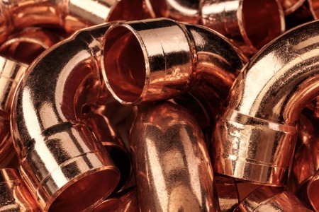 Copper pipes - can be used for abstract background. Imagens - 67231790