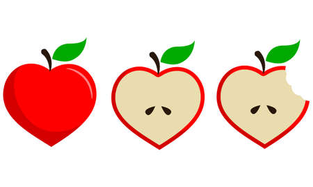 Heart Shaped Apple Fruit Vector Set in Three Steps