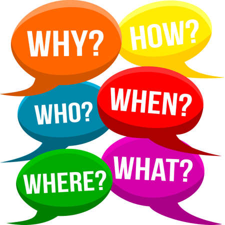 questioning: Cartoon Question Bubbles - Why How Who When Where What Questioning