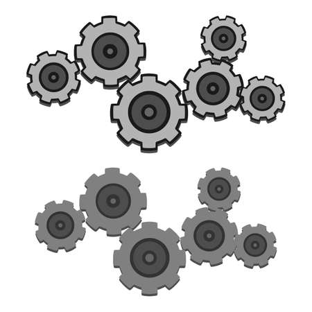 cooperating: Grey Gears Set With And Without Outline Illustration