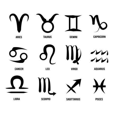 abstract aquarius: Modern Zodiac Signs Circle Illustration
