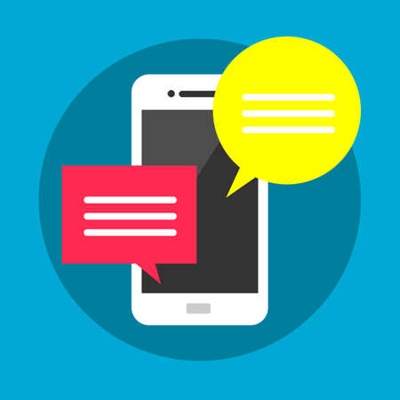 texting: Mobile phone with red and yellow bubble speech, web chatting concept, online texting, messaging, connection, communication modern flat vector illustration design isolated sign Illustration