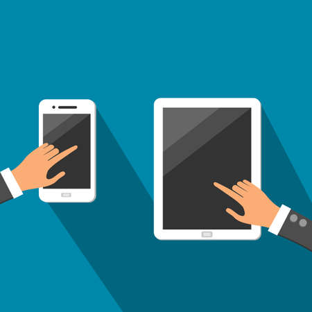 touchscreen: Hands On White Tablet And Smartphone With Dark touchscreen Vector