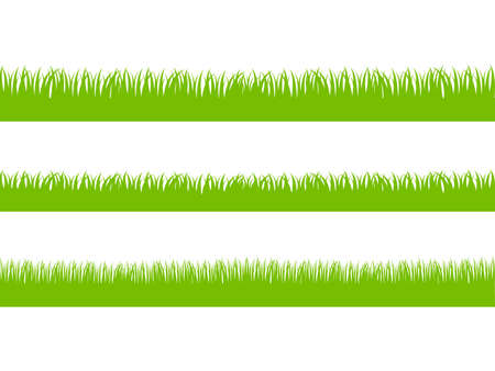 versions: Set of Fresh Green Grass in Three Seamless Versions