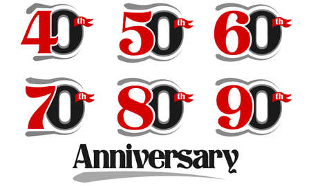 40th: Celebration Anniversary Set - 40th, 50th, 60th, 70th, 80th And 90th Vector Design