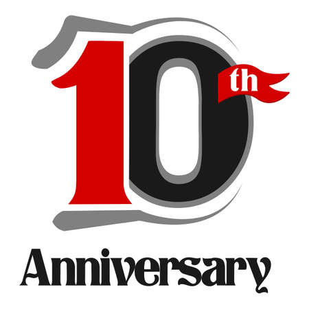 10th: 10th Anniversary Celebration Vector  Design