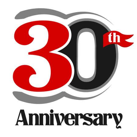 30th: 30th Anniversary Celebration Vector  Design