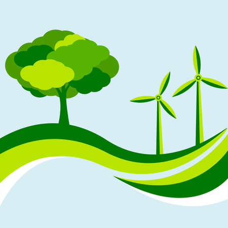 renewables: Ecological Background With Tree And Wind Turbine in Green