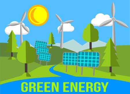 グリーン エネルギー再生可能エネルギー - 太陽電池パネルや風車の風景
