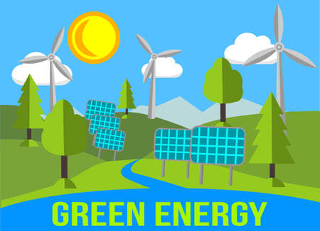 renewables: Green Energy Landscape With Renewables - Solar Panels And Windmills