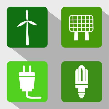 bombillo ahorrador: Fuentes de energ�a renovable iconos - Molino de viento, panel solar, electricidad y la bombilla moderna Vectores