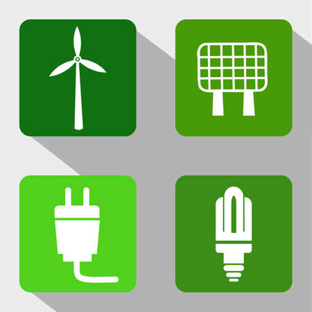 bombillo ahorrador: Renewable Energy Sources Icons - Windmill, Solar Panel, Electricity and Modern Light Bulb