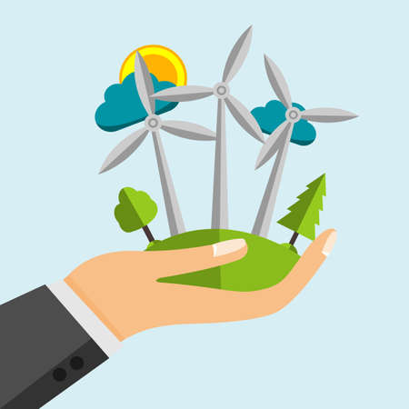 renewables: Wind turbine - Renewable Energy Sources In Open Cartoon Hand