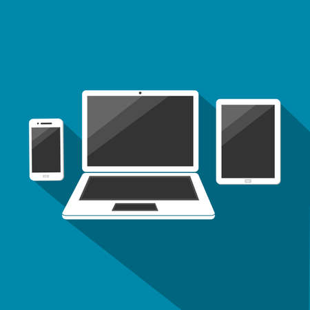compilation: White Smartphone, Laptop and Tablet With Dark Screen Sign Vector Illustration