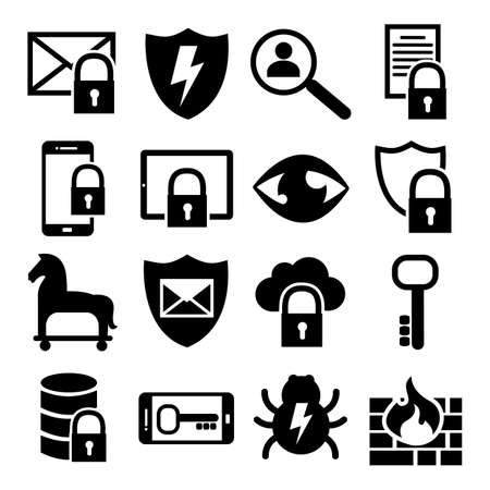 it technology: Information Technology Security Icons IT Website Icons - firewall, Trojan Horse, Virus, Lock, Key Symbol Set
