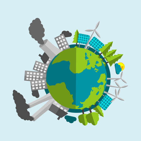 energy sources: Planet Earth Cartoon - Half Filled With Renewable Energy Sources And Nature - Half With Industry And Pollution
