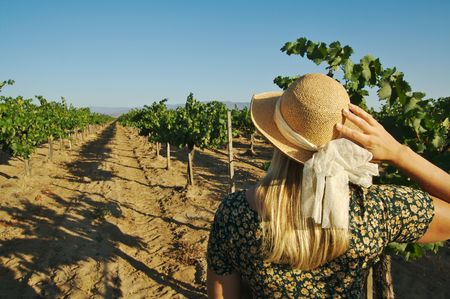 Beautiful woman at a country winery wearing her sun dress and hat. 免版税图像