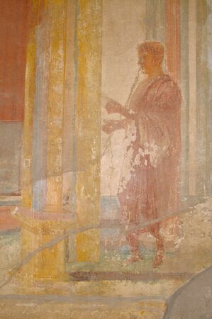 fresco: Ancient Fresco from the walls of the Pompeii, Italy ruins.