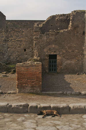 Cobblestone street and ancient ruins of Pompeii, Italy. photo