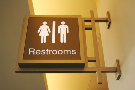 bathroom sign: Retro Designed Women & Men Bathroom Sign Stock Photo